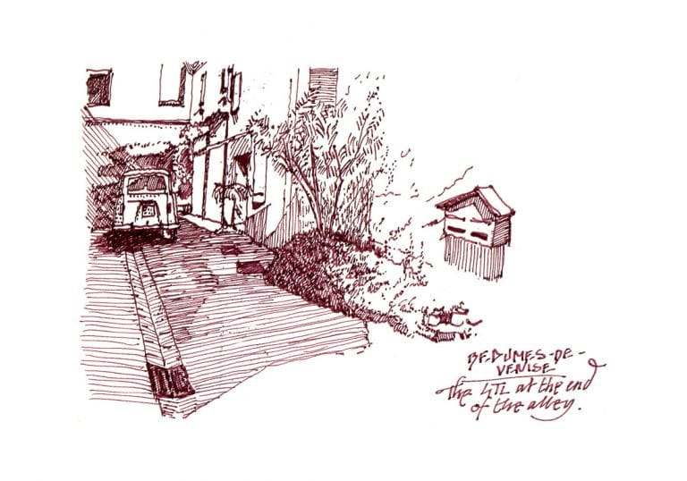 urban sketch of a Renault 4TL in Beaumes-de-Venise