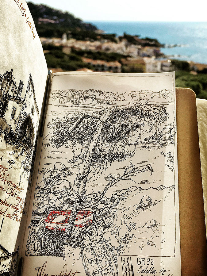 Sketch near Calella de Palafrugell, GR92, in a Midori Traveler's Notebook